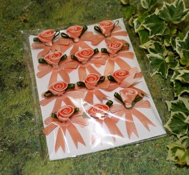Rosen Applikationen lachsfarben 12er Set Satin