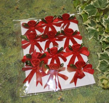 Rosen Applikationen rot 12er Set Satin